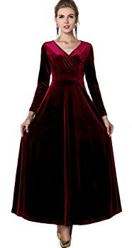 Amazon.com: Urban CoCo Women long sleeve V-neck Velvet Stretchy Long Dress (Large, Wine Red): Clothing
