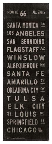 Route 66 - city stops. ?Old railroad or bus sign.