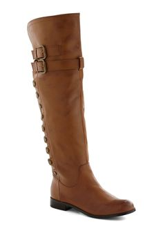 Right of Way Boot - Leather, Tan, Solid, Buckles, Studs, Flat, Casual, Boho, Rustic