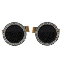 Art Deco Carved Onyx Diamond Platinum Gold Cufflinks