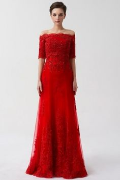 Red Wedding Dresses Off The Shoulder Bridal Dress Lace Applique Half Sleeve Sequin Floor Length Formal Evening Gowns Cheap Bridesmaid Dresses Uk, Red Wedding Dresses, Bridal Dresses, Dance Dresses, Ball Dresses, Dress Prom, Dress Lace, Prom Dresses, Weeding Dress