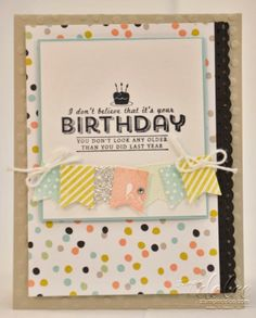 Stampin' Dolce: Banner Birthday Card using Stampin' Up! 2014 sale-a-bration products (sweet sorbet designer series paper, banner blast stamp set, banner punch)