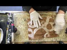 Wax on Wednesdays Encaustic Hot Painting And Adding  Stencil Girl Stencils and Pan Pastels - YouTube