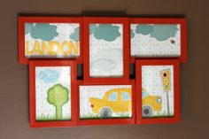 scrapbook paper, wall decals {tree, car, stoplight and some of the clouds}, and chipboard letters...