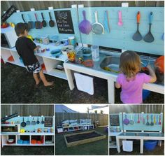 DIY Outdoor Play Kitchen for the kids. It's the perfect spot for making mud pies and great memories!
