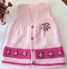 Kate's Crochet World Baby Cardigan Knitting Pattern Free, Kids Knitting Patterns, Knitted Baby Cardigan, Crochet Baby Booties, Knitting For Kids, Knit Baby Dress, Crochet Motifs, Crochet Patterns, Crochet Girls