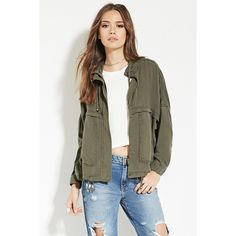 Love 21 Women's  Contemporary Utility Jacket (145 BRL) ❤ liked on Polyvore featuring outerwear, jackets, oversized jacket, lightweight zip jacket, lightweight jacket, light weight jacket and drawstring jacket