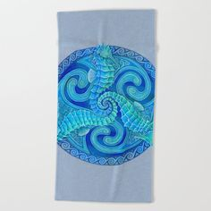 Seahorse Triskele Celtic Blue Spirals Mandala Beach Towel by psychedeliczen Mandala Towel, Spirals, Mandala Design, Home Decor Accessories, Beach Towel, Celtic, Artist, Artwork, Summer