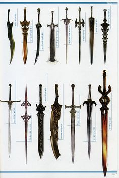 Weapon Concepts — Lineage 2 Concept Art-- Bottom right sword! Sword Fantasy, Fantasy Weapons, Fantasy Art, Fantasy Concept Art, Katana, Armes Concept, Sword Design, Anime Weapons, Medieval Weapons