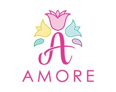 Amore Logo design - Unique design logo of letter A with some tulip flowers on the top of it, it is like the crown of the flowers in different colors. Creative and professional design can be useful for flower shop, event planners, photographers, jewelry shop and various business and services. Price $299.00