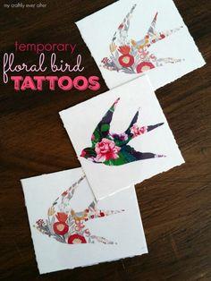 floral bird tattoos for valentines
