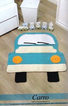 Car crochet rug in Russian Crochet Mat, Crochet Carpet, Crochet Amigurumi, Crochet Dolls, Crochet Home Decor, Crochet Crafts, Crochet Projects, Animal Rug, Crochet For Boys
