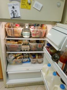 organizing the fridge in college!