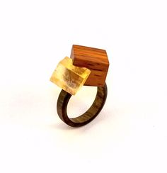 Burma Padauk, Black Walnut and Calcite ring.