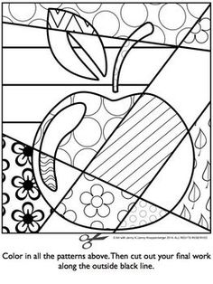 Apple Pop Art Interactive Coloring Sheet