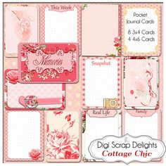 Cottage Chic Pocket Journal Cards Project by DigiScrapDelights #pink #shabby chic vintrage roses