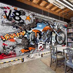 Graffiti Street Art Large Motorcycle Wallpaper Mural Home or Business – beddingandbeyond. Graffiti Wallpaper, Brick Wallpaper, Home Wallpaper, Street Graffiti, Street Art, Dirt Bike Room, Cartoon Wall, 3d Cartoon, 3d Wall Murals