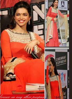 Deepika Padukone Orange Anarkali Suit