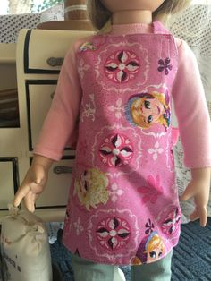 """Doll Apron Pink Frozen Glitter 18"""" Clothes Kitchen Cooking Anna Elisa Fits AG dolls"""