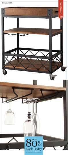 Cyber Monday Deals continue! Enjoy doorbuster savings during the following dates: 11/1-12/12. Entertain with style with the Homehills Ashburn bar cart. Naturally finished pine lends a rustic touch, while the black metal bracings and hardware give an industrial edge. The cart's top tray lifts up for easy serving. Casters on the back wheels allow the cart to be locked in place to prevent spills. Sign up for our newsletter and save 15% today! A one time 15% offer promo code valid for 30 days.