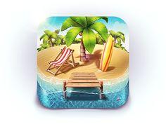 Dribbble - Paradise Island iOS Icon by Denis Shoomov | M18