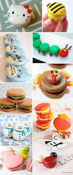 macarons de formatos diferentes: hello kitty, abelha, totoro, hamburguer...