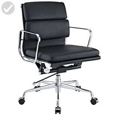 eMod - Eames Style Softpadded Management Office Chair Reproduction Leather Black - Refine your workspace (*Amazon Partner-Link)