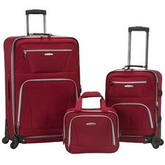 Rockland 3-Piece Spinner Expandable Luggage Set, Red (4,040 MXN) ❤ liked on Polyvore featuring bags, luggage and red