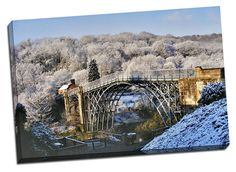 famous iron bridge canvas print gift birthday framed picture winter scene