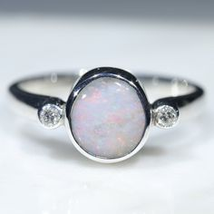 Australian Solid Boulder Opal and Diamond Silver Ring - Size 6.25 Code - RS64 Silver Opal Ring, Opal Rings, Gemstone Rings, Silver Rings, Natural Opal, Natural Diamonds, Diamond Mines, Silver Ring Designs, Opal Color