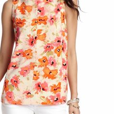 HP LOFT sleeveless blouse Stunning watercolor floral print! Very soft to the touch! Pair with colored skinnies & a statement necklace for a sophisticated look! 100% polyester. Bust is 17 & 1/2in. and shoulder to hem is 23in. WORK WEEK CHIC HOST PICK! LOFT Tops