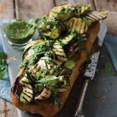 Braai bruschetta with zucchini and pesto Braai Recipes, Cooking Recipes, What's Cooking, Cooking Ideas, South African Recipes, Tasty Bites, Good Enough To Eat, Appetisers, What To Cook