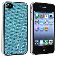 Apple iPhone 4 / 4S Snap On Hard Case, Blue Bling Rear