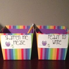 Owl themed classroom!  Target baskets for pencils! :)