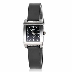 awesome Women's Simple All Matched Square Dial Silicone Band Quartz Analog Wrist Watch , Black  –