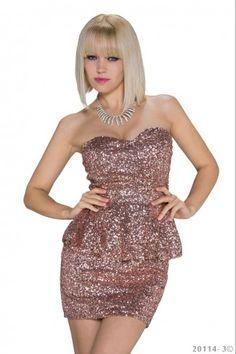 Φόρεμα με βολάν και παγιέτες - Ροζ