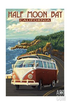 Ventura, California - VW Van Drive - Lantern Press ArtworkQuality Poster Prints Printed in the USA on heavy stock paper Crisp vibrant color image that is resistant to fading Standard size print, ready for framing Perfect for your home, office, or a gift Pub Vintage, Photo Vintage, Vintage Art, Vintage Style, California Vw, Ventura California, Monterey California, Cambria California, Ventura County