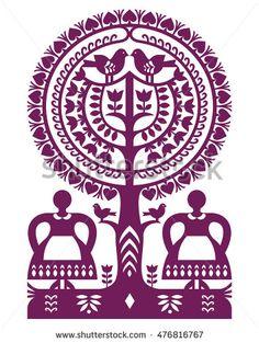 Polish Folk Art Pattern Wycinanki Kurpiowskie - Kurpie Papercuts Stock Vector - Illustration of design, flower: 76602279 Aboriginal Patterns, Polish Embroidery, Polish Folk Art, Scandinavian Folk Art, Stencils, Celtic Patterns, Indian Folk Art, Fabric Painting, Pattern Art