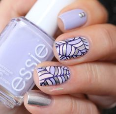 Essie Virgin snow // pastel reverse stamping nail art