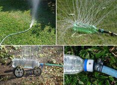 Your own drip irrigation system made from a bottle Plastic Bottle Crafts, Diy Bottle, Recycle Plastic Bottles, Bottle Garden, Bottle Art, Recycling Information, Recycling Ideas, Repurposing, Lawn Sprinklers