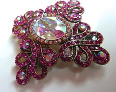 Pink Rhinestone & AB Brooch Swirly Filigree by RenaissanceFair