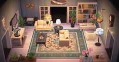 Animal Crossing Cafe, Animal Crossing Wild World, Animal Crossing Villagers, Animal Crossing Pocket Camp, Cute Living Room, Beach Living Room, Cozy Living Rooms, The Sims, Christmas Living Rooms