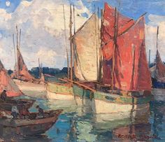 """Edgar Payne (1883-1947) """"French Fishing Boats"""" c. 1923-1925, Oil on Canvas  20"""" x 24"""""""