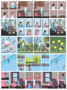 """From Chris Ware's """"Building Stories,"""" 2012. """"I think cartooning gets at, and re-creates on the page, some sixth sense—of space and of being in a body—in a way no other medium can."""""""