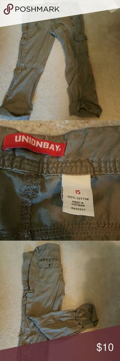 Cargo pants Size 15 cargo pants with tabs to roll up and hold legs Unionbay Pants