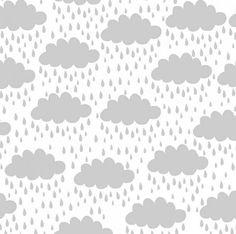 ¿Que tendrán las nubes que nos gustan tanto? Encantadora tela de patchwork con nubes en gris sobre fondo blanco.