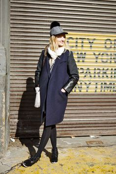 Candice Lake in a Celine jacket, Lola hat, and Wittner shoes #NYFW #streetstyle #fashionweek