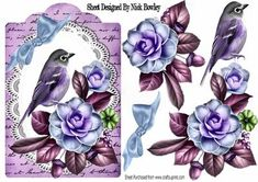 Pretty wild summer roses on lace with lilac bird and script on Craftsuprint designed by Nick Bowley - Pretty wild summer roses on lace with lilac bird and script, makes a pretty card, can be seen in other colours - Now available for download!