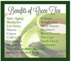 Here are some of the many benefits of green tea. When you are having a weak moment and craving sweets turn to some green tea. Diabetes And Headaches, Health And Beauty Tips, Health Tips, Healthy Sleep, Eating Healthy, Healthy Food, Clean Eating, What Is Thinking