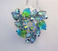 Blue and Green Rhinestone Pin Vintage Leaf Brooch by jryendesigns, $33.00